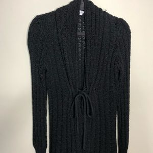Tabitha Black Cable Knit Tie Front Cardigan Size S